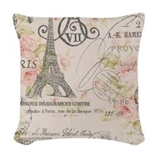 pink floral elegant paris Eiffel tower art Woven T