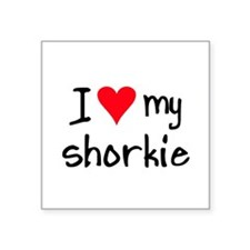 "Unique Yorkie valentines Square Sticker 3"" x 3"""