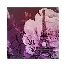 purple floral paris eiffel tower art Queen Duvet