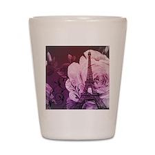 purple floral paris eiffel tower art Shot Glass