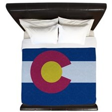 Flag of Colorado Damask Pattern King Duvet