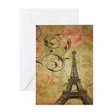 rose floral paris eiffel tower art Greeting Cards