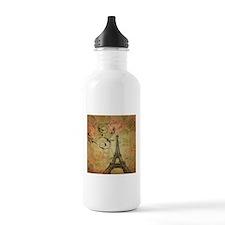 rose floral paris eiffel tower art Water Bottle
