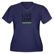 Live Love Ne Women's Plus Size V-Neck Dark T-Shirt