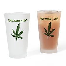 Custom Green Weed Leaf Drinking Glass