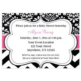 Pink & black chevron baby shower invitations 5 x 7 Flat Cards