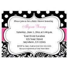 Pink Black Dots Damask Invite Invitations