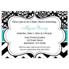 Teal Black Damask Chevron Invite Invitations