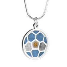 Argentina World Cup 2014 Silver Round Necklace