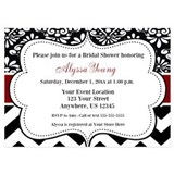 Black red damask chevron invitation 5 x 7 Flat Cards