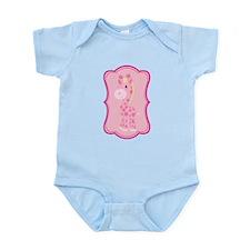 Pink Giraffe on Pink Flourish Body Suit