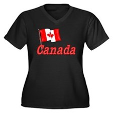 Canada & Canadian Flag Women's Plus Size V-Neck Da