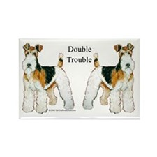 Double Trouble Wire Fox Terri Rectangle Magnet