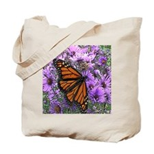 Monarch Butterfly on Purple Asters Tote Bag