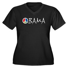 Obama Peace Women's Plus Size V-Neck Dark T-Shirt