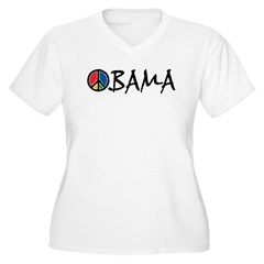 Obama Peace Women's Plus Size V-Neck T-Shirt