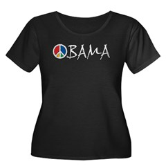 Obama Peace Women's Plus Size Scoop Neck Dark T-Sh
