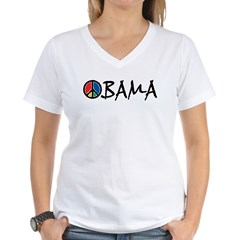Obama Peace Women's V-Neck T-Shirt
