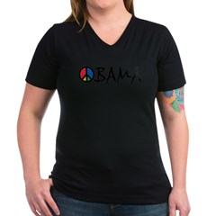 Obama Peace Women's V-Neck Dark T-Shirt