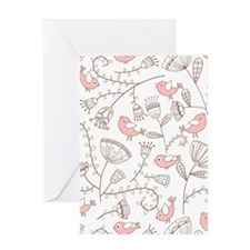 Cute Birds with Flowers Greeting Cards