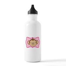 Cute Monkey on Pink Flourish Water Bottle