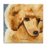 Red Poodle Stuff Tile Coaster