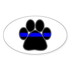 Blue Line K9 Paw Oval Decal