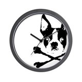 Boston Terrier Crossbones Wall Clock