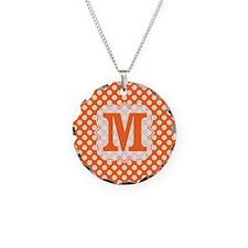 Monogram Orange Cream Polka Dots Necklace