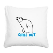 Chill Out Polar Bear Square Canvas Pillow