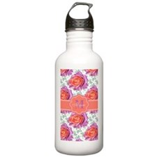 Purple Coral Roses Personalized Water Bottle