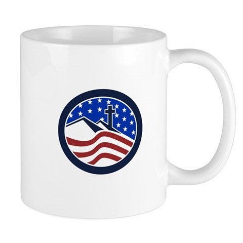 Cross on Hill American Flag Circle Mugs