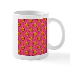 Bright Pink Basketball Pattern Mugs