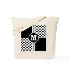 Stylish monogram Black and white striped check Tot