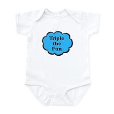 Triple fun Blue Triplets Baby Bodysuit