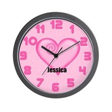 Personalized Pink Heart Wall Clock