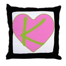 Pink Heart Monogram Initial K Throw Pillow