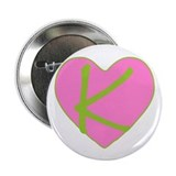 Pink Heart Monogram Initial K Button
