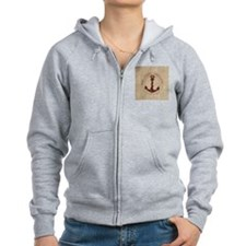 modern anchor burlap nautical art Zipped Hoody