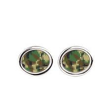 Digital Pixel Camouflage Pattern Oval Cufflinks