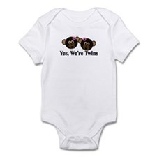 Twins Baby Monkeys 2 Girls Infant Bodysuit