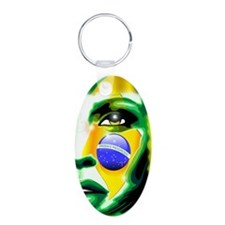 Brazil Flag Girl Portrait Keychains