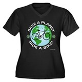 Environmental Bike Slogan Women's Plus Size V-Neck