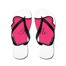 Personalizable Pink and Black Flip Flops