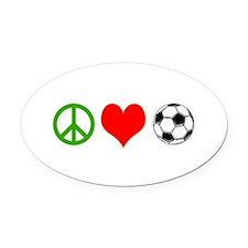 PEACE LOVE SOCCER Oval Car Magnet