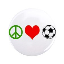 "PEACE LOVE SOCCER 3.5"" Button"