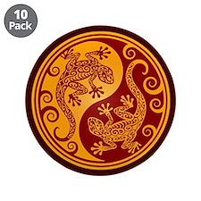 "Red and Yellow Yin Yang Geckos 3.5"" Button (10 pac"