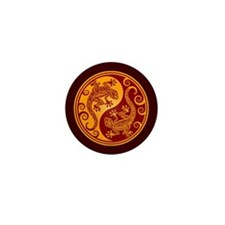 Red and Yellow Yin Yang Geckos Mini Button