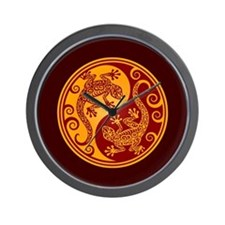 Red and Yellow Yin Yang Geckos Wall Clock