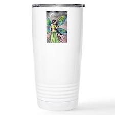 Emerald Dragon and Fairy Fantasy Art Travel Mug
